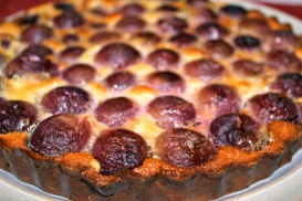 Red Globe grape clafoutis