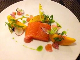Fennel pollen salmon Peach, radish, dandelions